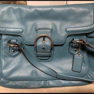 Vintage blue Coach bag with detachable strap
